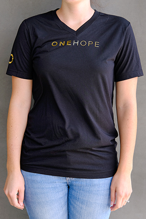 Unisex Black V-Neck Tee with Gold Lettering