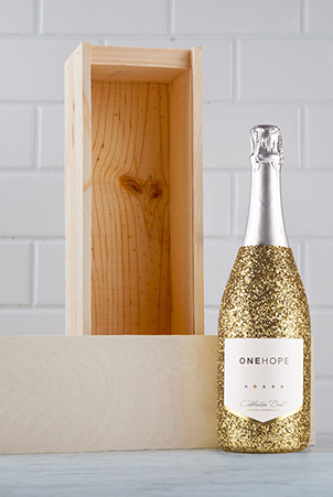 Glitter Celebration Single Bottle Wood Box